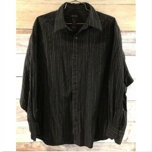 Axcess by Claiborne Black Shirt Button Up Striped